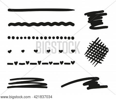 Hand Drawn Lettering Underlines On White. Abstract Chaotic Lines. Hatching. Freehand Art. Black And