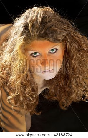 Bodypainted Tiger Girl Portrait