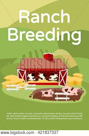Ranch Breeding Brochure Template. Livestock And Cattle Farming. Flyer, Booklet, Leaflet Concept With