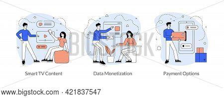 Modern Entertainment And Payment Technologies Concept. Smart Tv Content. Data Monetization. Payment