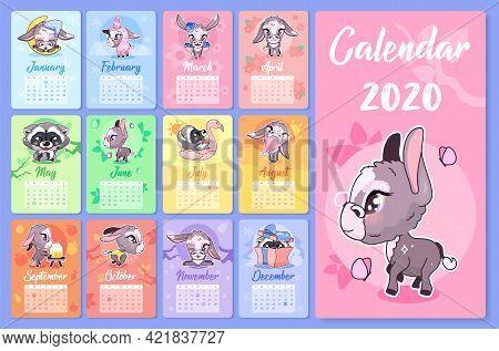 Cute Animals 2020 Calendar Design Template With Cartoon Kawaii Characters. Wall Poster, Calender Cre