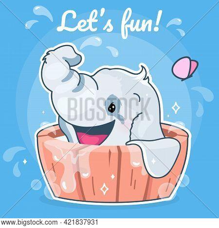 Cute Elephant Kawaii Character Social Media Post Mockup. Lets Fun Lettering. Positive Poster, Card T