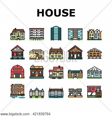 House Constructions Collection Icons Set Vector. Townhome House And Mobile Home, Villa And Palace Bu