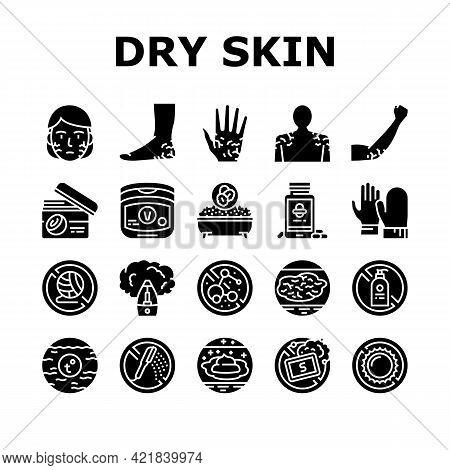 Dry Skin Treatment Collection Icons Set Vector. Elbow, Face And Hand Dry Skin Treat Cream And Lotion