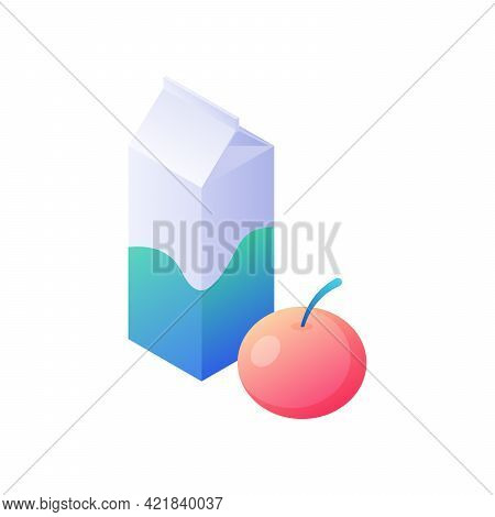 Cardboard Packaging And Red Apple Isometric Vector. Morning Dietary Breakfast With Drink Fruit. Scho
