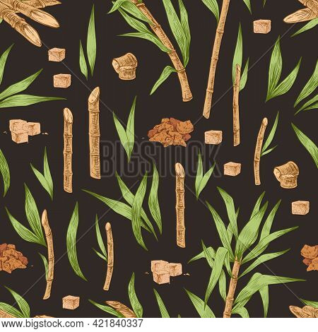 Seamless Pattern With Heaps And Cubes Of Brown Sugar, Cane Leaves And Branches. Endless Repeatable T