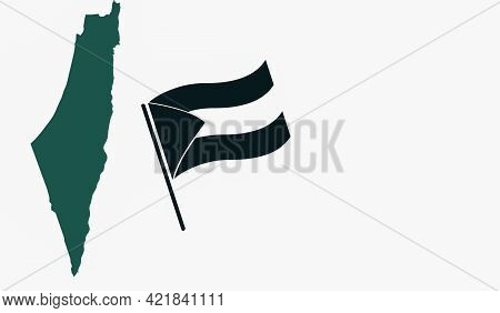 An Illustration Palestine Map And Waving Flag Isolated On White Background With Copy Space.