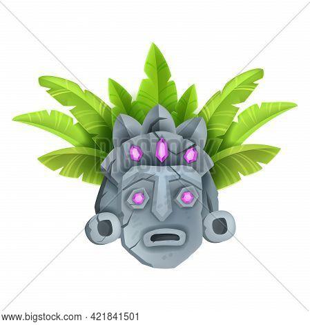 Ancient Stone Tiki Mask, Vector Tribal Totem Face, Hawaii Tropical Idol Illustration, Jewels, Exotic