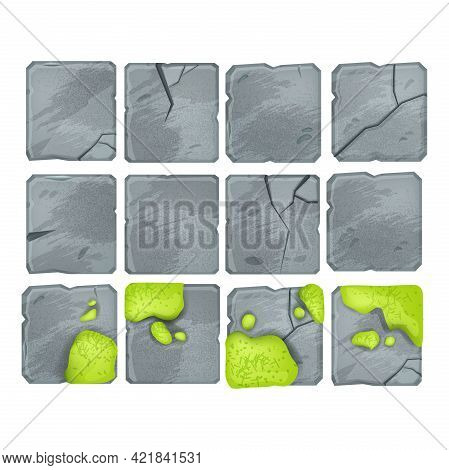 Stone Floor Pavement Tiles Set, Vector Rock Square Blocks Isolated On White, Moss, Cracked Mosaic. N