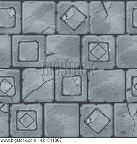 Ancient Stone Pavement Texture, Vector Brick Wall Seamless Pattern, Old Rock Street Square Paver Til