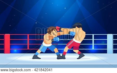 Professional Boxing Among Boys On Ring. Teen Boxing, Kickboxing Children On Arena. Kids Fight With T