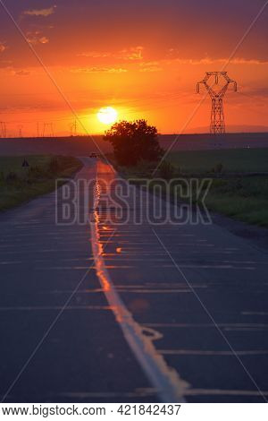 Road To The Sunset In Spring Time