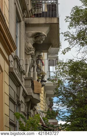 Sculpture Of A Football Player Of Fc St Pauli With A Scarf On A Balcony, Hamburg, Germany