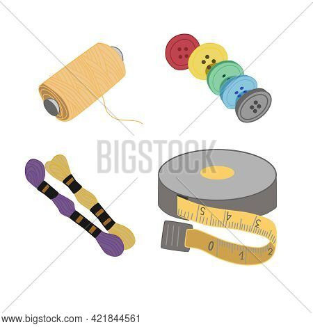 A Set Of Equipment For Needlework With Simple Tools - A Spool Of Thread, A Centimeter, Buttons,  Flo