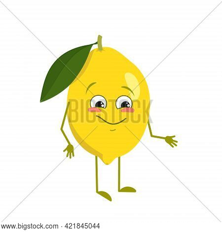Cute Lemon Character With Joy Emotions, Smiling Face, Happy Eyes, Arms And Legs. A Mischievous Vitam