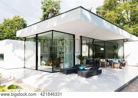 Cologne, Germany - August 4 2020: Modern Villa House Exterior In Garden