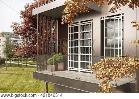 Cologne, Germany - October 3 2020: Villa Terrace In Autumn Garden. Modern Villa Exterior