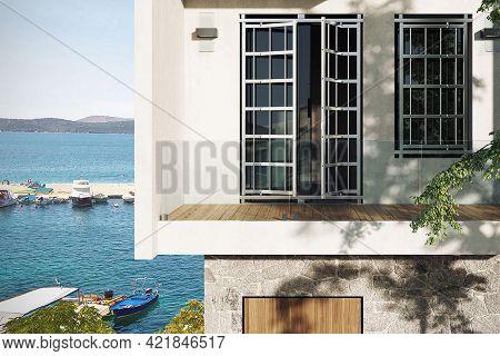 Spain, Barcelona - October 3 2020: Villa Terrace And Seascape. Modern Villa Exterior