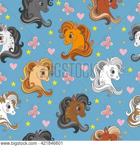 Seamless Vector Pattern With Pony Heads And Flowers Blue