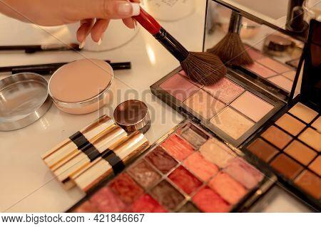 Makeup Palette During Makeup Session In Makeup Studio