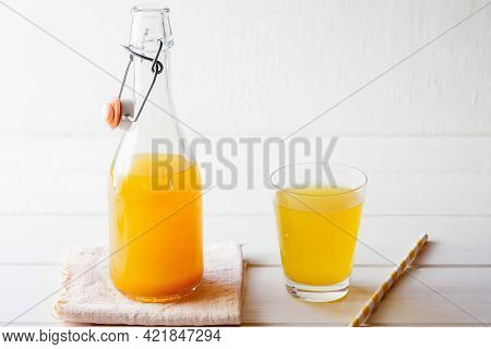 Lemonade With Ginger And Curcuma, Close Up