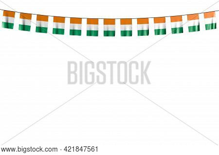 Pretty Many Cote D Ivoire Flags Or Banners Hanging On String Isolated On White - Any Holiday Flag 3d