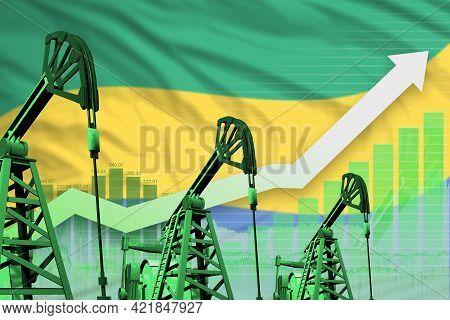 Gabon Oil Industry Concept, Industrial Illustration - Rising Up Chart On Gabon Flag Background. 3d I