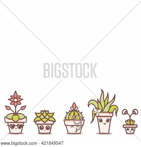Vector Fun Kawaii House Plants In Terracotta Pots On White Seamless Pattern Border. Perfect For Fabr