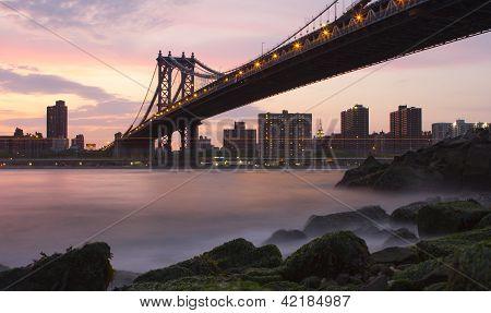 Manhattan Bridge From Brooklyn Near Sunset