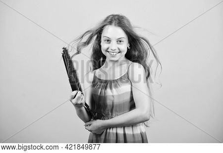 Windy And Happy. Elegant Little Lady. Beauty And Fashion. Little Girl With Long Hair. Happy Childhoo