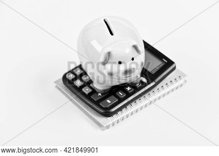 Taxes Calculator. Accounting Business. Piggy Bank Symbol Money Savings. Investments Concept. Piggy B