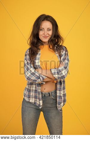 Confident Sensual Woman With Beauty Look In Casual Fashion Style Keep Arms Crossed Yellow Background