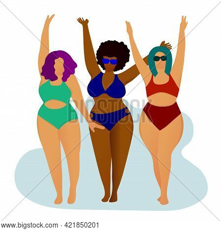 Happy Chubby Girls In Swimsuits. Body Positive. Love Your Body. Girls On The Beach. Acceptance Of Yo