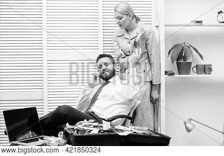 Man Speak On Phone. Business Success. Couple Count Money. Handsome Businessman Millionaire With Secr