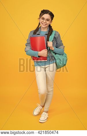 Make School Time Better. Little Child Hold Bag And Books. Happy Kid Back To School. September 1. Kno