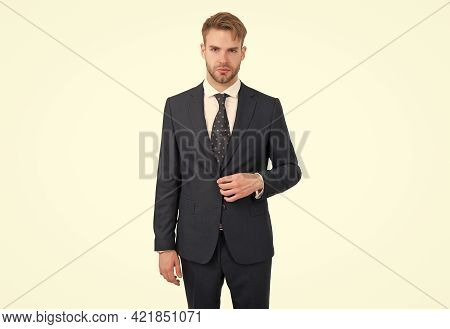 Professional Man Boss In Formalwear Having Well Groomed Hair Isolated On White, Success