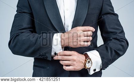 Cropped Man With Wristlet Watch On Male Arm Wrist In Formal Fashion Tuxedo, Fashion Accessory