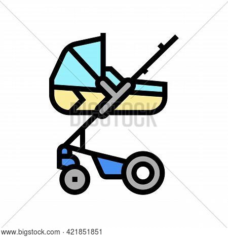 Stroller Carrycot Baby Color Icon Vector. Stroller Carrycot Baby Sign. Isolated Symbol Illustration
