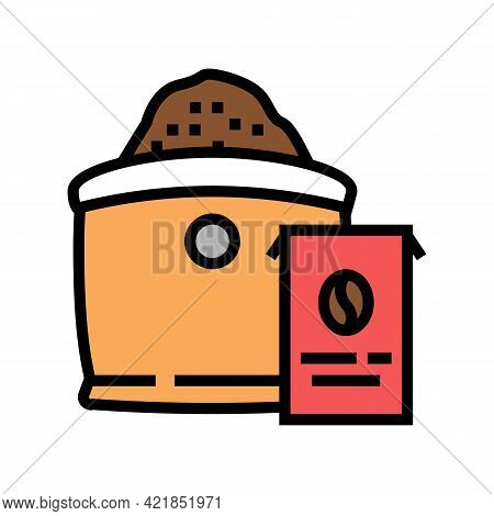 Ground Coffee Bag Color Icon Vector. Ground Coffee Bag Sign. Isolated Symbol Illustration