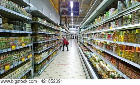 St. Petersburg, Russia - April 16, 2021: Russian Supermarket - One Of Largest Players Of Retail Indu