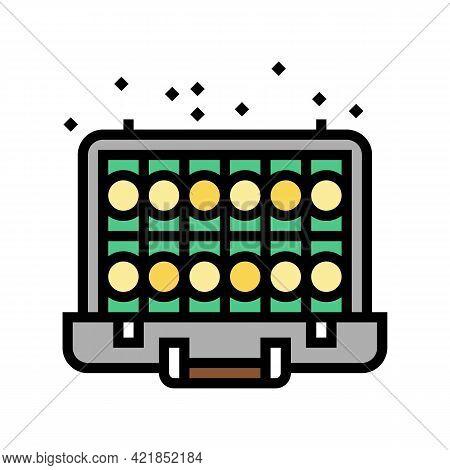 Money Case Of Mafia Video Game Color Icon Vector. Money Case Of Mafia Video Game Sign. Isolated Symb