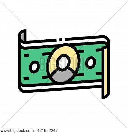 Dollar Banknote Of Business Simulator Application Color Icon Vector. Dollar Banknote Of Business Sim