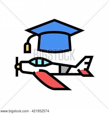Graduate Flight School Color Icon Vector. Graduate Flight School Sign. Isolated Symbol Illustration