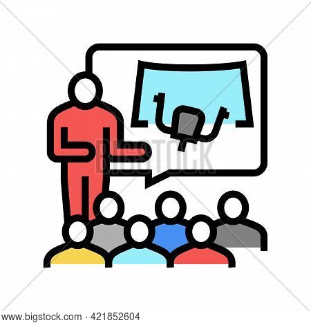 Teacher Teaching In Flight School Color Icon Vector. Teacher Teaching In Flight School Sign. Isolate