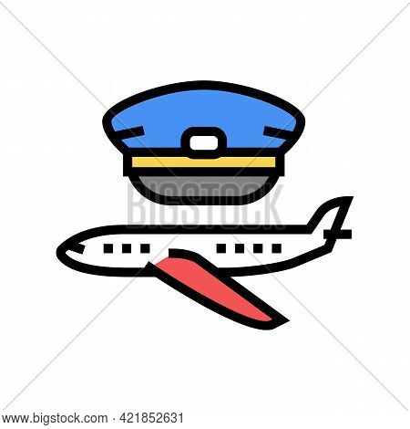 Commercial Aviation Flight School Color Icon Vector. Commercial Aviation Flight School Sign. Isolate