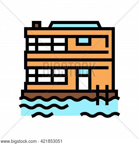 Floating On Water Residence House Color Icon Vector. Floating On Water Residence House Sign. Isolate