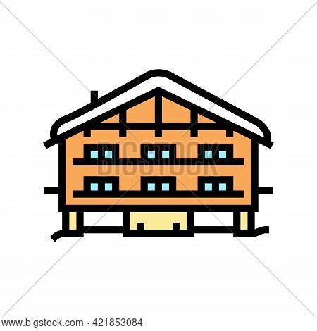 Chalet House Color Icon Vector. Chalet House Sign. Isolated Symbol Illustration