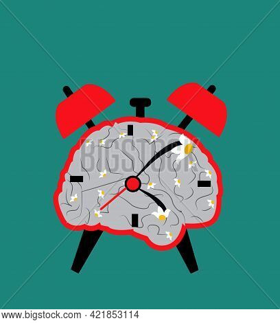Illustration Of A Clock In The Shape Of A Brain To Suggest That Time Is Melting And Is Subjective, I
