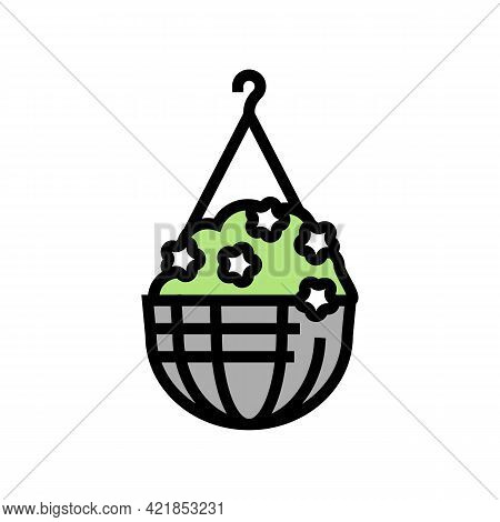 Hanging Potting House Plant Color Icon Vector. Hanging Potting House Plant Sign. Isolated Symbol Ill