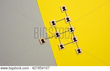 Wooden Blocks With Figures On A Gray Yellow Background, Hierarchical Organizational Structure Of Man
